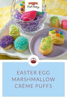 Pepperidge Farm Puff Pastry Easter Egg Marshmallow Cream Puffs Recipe. These cream puffs might be the prettiest dessert at your table! They're so simple to make using just an egg-shaped cookie cutter and frozen Puff Pastry sheets. Once baked, fill with a delightful cream mixture and decorate to your heart's content. They're a fun activity to make with the kids, a delicious dessert, and a gorgeous addition to your Easter table!