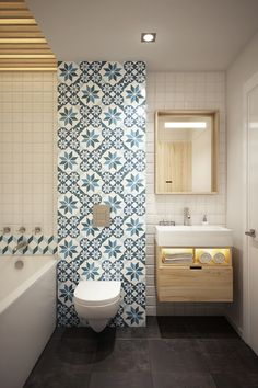 Decoration: Funky Wallpaper On Bathroom Mixed With Floating Vanity Cabinet Also Built In Bathtub In White Also Decorative Wall Mirror Ideas: Good Looking Homes Under 499 Square Feet ( With Floor Plans)