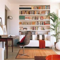 Space Saving Room Furniture Placement Ideas, Putting Bookcases and Shelves Behind Sofas and Beds – Lushome Niche Living, Living Room Decor, Living Spaces, Living Rooms, Bookshelves Built In, Book Shelves, Bookcases, Arranging Bookshelves, Built Ins