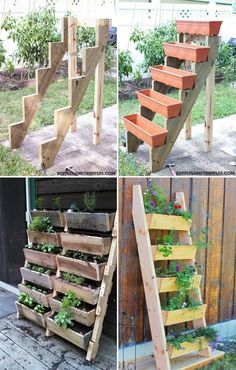 Vertical tiered ladder planter will be a clever way to save your limited space diy garden ideas DIY Ideas to Build a Vertical Garden for Small Space Vertical Garden Diy, Diy Garden, Garden Care, Garden Beds, Indoor Garden, Garden Projects, Outdoor Gardens, Vertical Gardens, Vertical Planter