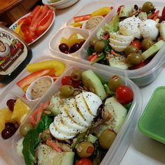My & hubby's lunches prepped & packed for tomorrow!    #EasyLunchboxes  http://www.easylunchboxes.com/