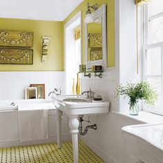 A tangy spritz of color enlivens a grand classic bath, steering it clear of cookie-cutter mode. | Photo: Paul Whicheloe | thisoldhouse.com