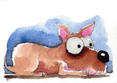 ACEO Original watercolor art whimsical animal painting pet dog puppy nap time #Folkartillustration