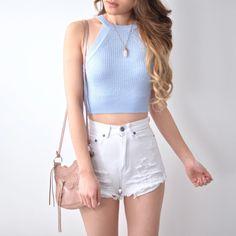 Sophia Knit Top - Baby Blue