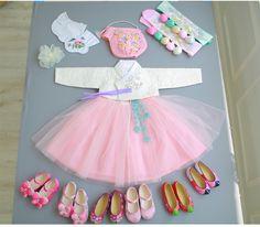 ::: 도담도담 모바일 ::: Korean Traditional Dress, Traditional Fashion, Traditional Dresses, Modern Hanbok, Dress Attire, Korean Dress, Unicorn Birthday Parties, Lolita Dress, Baby Sewing