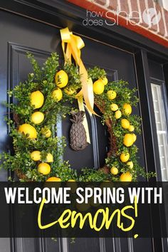 Easy DIY wreath with lemons, green foilage and a grapevine wreath form