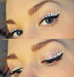 Simplistic iridescent eye shadow with aurora borealis crystal accents by Linda Hallberg.