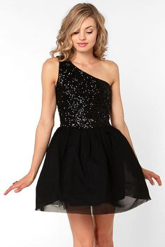 This elegant black dress adds dramatic flair with an off the shoulder neck and a flouncy skirt.