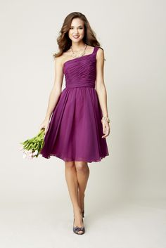 A one-shoulder, short chiffon bridesmaid dress.   Kennedy Blue Bridesmaid Dress Megan