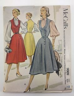 McCalls 9009 1950s Dress, Jumper, and Blouse Vintage Sewing Pattern