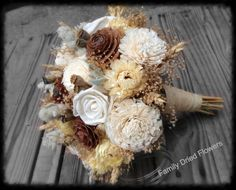 Creamy Wheat Collection - Bridesmaid Bouquet - Dried Flower Toss Bouquet - Wood Sola Flower - Wedding Bouquet - Cream White Gray Sage Golden...