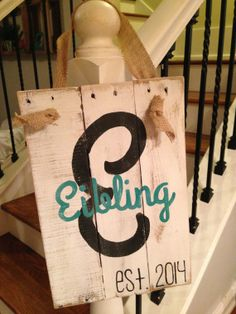Family name and initial pallet sign by NCRDesign on Etsy, $40.00