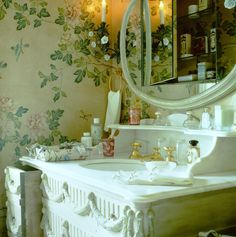 Guest bathroom in New Jersey country house, with custom designed vanity and hardware. Howard Slatkin