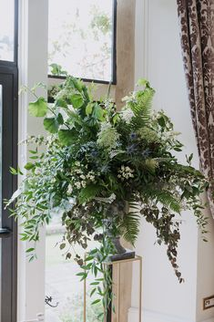 Beautiful floral urns full of ferns, thistle, meadow flowers. Perfect for a ceremony backdrop display. Fern Wedding, Winter Wedding Flowers, Large Flower Arrangements, Wedding Flower Arrangements, Fern Flower, Meadow Flowers, Memorial Flowers, Church Flowers, Ceremony Backdrop