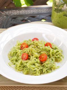 Avocado Arugula Pesto with Spaghetti Squash
