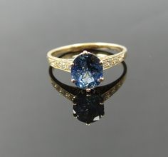Gorgeous Vintage Rose Gold Diamond and Montana Sapphire Engagement Ring - RGSA177P