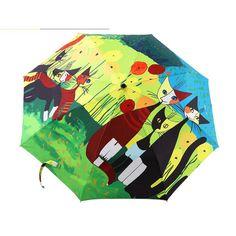 printing Oil painting umbrella 3 folding umbrella women and men, car Star high quality sunny rain umbrella TQ-7