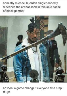 Michael b Jordan black panther Erik killmonger museum scene art