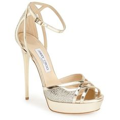 "Jimmy Choo 'Laurita' Sandal, 5 1/4"" heel ($895) ❤ liked on Polyvore featuring shoes, sandals, heels, jimmy choo, sapatos, silver leather glitter, jimmy choo shoes, metallic sandals, ankle wrap sandals and platform shoes"