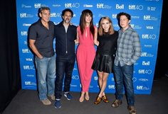 """#OurBrandIsCrisis producers George Clooney, Grant Heslov, actress/executive producer Sandra Bullock, actress Zoe Kazan and director David Gordon Green attend the """"Our Brand Is Crisis"""" press conference at the 2015 #tiff."""