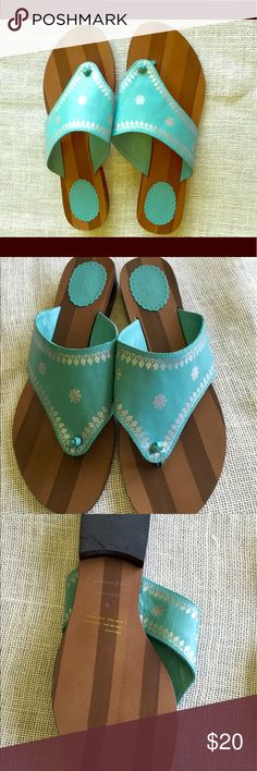 Gap Sandals Turquoise Gap sandals with silver foil flowers. Like new. GAP Shoes Sandals