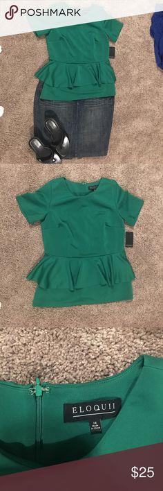 Eloquii Kelly green peplum top! New never worn Eloquii Kelly green peplum top! Size 16! Eloquii Tops Blouses