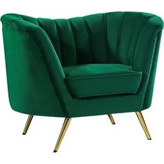 Sit back and enjoy the luxurious styling of the Margo Collection Chair. The chair features plush velvet upholstery over the rounded arms that curve into a low. The chair sits atop of sleek gold stainless steel legs for a stunning contra. Chair Upholstery, Chair Fabric, Upholstered Chairs, Wall Fabric, Fabric Panels, Meridian Furniture, Swivel Barrel Chair, Furniture Logo, Furniture Websites