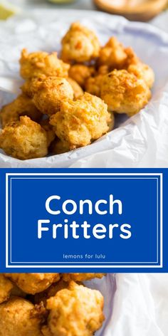 A spiced batter littered with fresh conch meat is deep fried until golden. These conch fritters are a little taste of the islands that are downright addicting! Side Dish Recipes, Lunch Recipes, Seafood Recipes, Best Side Dishes, Delicious Dinner Recipes, Yummy Recipes, Yummy Appetizers, Appetizer Recipes, Quick And Easy Appetizers