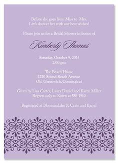 Fleur Lilac Bridal Shower Invitations