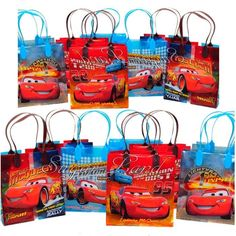 12 PCS Cars McQueen Party Favor Bags Goodie Loot Tote Candy Treats Pixar Lot