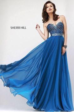 Long Blue Strapless Prom Dress