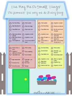 printable cleaning list. If the kids are fighting, they get to pick a task from the chart to accomplish together. My mom would set a timer for 15 minutes. If we fought she would restart the timer