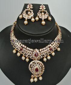Diamond Necklace with Mango Clasps - Jewellery Designs