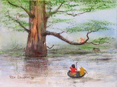 """Piglet Entirely Surrounded By Water"" by Peter Ellenshaw - Original Artwork, 12x16.  #Disney #WinnieThePooh #DisneyFineArt #PeterEllenshaw"