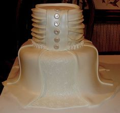 This weddihg dress cake was matching the tuxedo cake for a wedding shower!