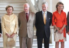 (L-R) Queen Paola, King Albert, Prince Philippe and Princess Mathilde of Belgium meet former Prime Ministers of Belgium at Laeken Castle on 10 July 2013 in Brussels, Belgium