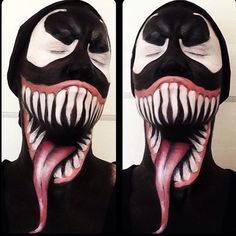 Venom Makeup Tutorial – definitely will not be using acrylics like this gal does. Use Starblends to avoid smudging 🙂 Venom Makeup Tutorial – definitely will not be using acrylics like this gal does. Use Starblends to avoid smudging 🙂 Halloween Contacts, Halloween Eye Makeup, Halloween Eyes, Scary Makeup, Halloween Cosplay, Halloween Diy, Halloween Costumes, Joker Makeup, Fx Makeup