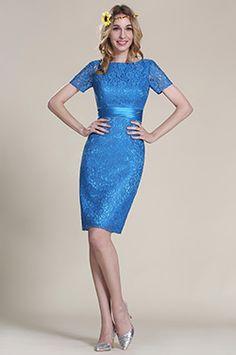 eDressit Short Sleeves Blue Lace Bridesmaid Dress (07152305)