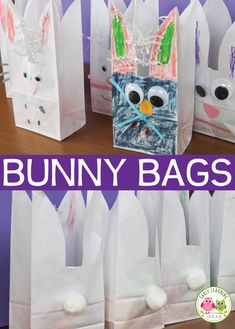 Making bunny bags is one of my favorite Easter crafts for preschoolers. Transform a simple lunch bag into an adorable bunny work of art. The cute bags make a great activity at a kids Easter or birthday party....and they can be used for goody, treat, or favor bags. Easter theme, bunny theme, spring theme craft for preschool & pre-k
