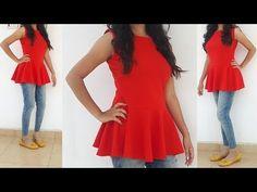 63 New Ideas Diy Clothes Tops Tutorials Sewing Patterns Peplum Top Pattern, Tunic Pattern, Peplum Tops, Peplum Top Outfits, Free Pattern, Tunic Tops, Diy Clothes Tops, Sewing Clothes, Stitching Dresses