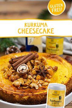 Ein glutenfreier, sonniger Hochgenuss! #kurkuma #kurkumalatte #goldenemilch #backen #torte #cheesecake #käsekuchen #rezept #glutenfrei #lecker #dessert #torten #kuchen #geburtstagstorte #muttertag #valentinstag #feier Cheesecake, Party Finger Foods, Pulled Pork, Cake Cookies, Latte, Clean Eating, Pizza, Low Carb, Drink