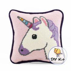 Mini Needlepoint Unicorn Pillow Kit ModernTapestry DIY kit