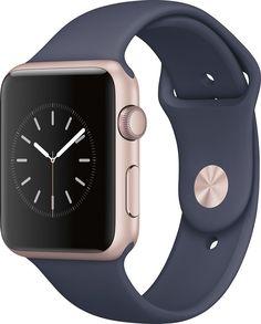 Apple - Geek Squad Certified Refurbished Apple Watch Series 1 42mm Rose Gold Aluminum Case Midnight Blue Sport Band - Rose Gold Aluminum