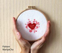 Love you words cross stitch pattern  heart by MariyaCha on Etsy, $4.50