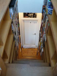 Bookcase stairs to attic loft