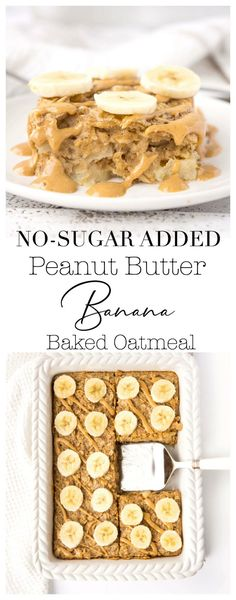 Peanut Butter Banana Baked Oatmeal Breakfast doesn't get much easier than this Peanut Butter Banana Baked Oatmeal! Whip up a batch and store it in the fridge or freezer for a quick and easy breakfast throughout the week! Great option for the whole family! Good Healthy Recipes, Gourmet Recipes, Healthy Snacks, Dessert Recipes, Desserts, Brunch Recipes, Cookie Recipes, Quick And Easy Breakfast, Make Ahead Breakfast