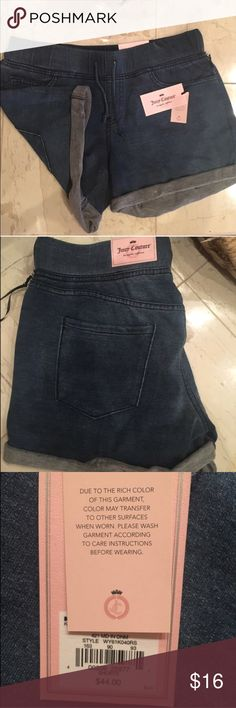 Juicy Couture shorts 💎 Juicy Couture shorts 💎 look like jean shorts but very soft 💎 stretchable waist with tie string  💎 pockets on back like real jeans 💎95% cotton 💎  5% spandex 💎 new with tags Juicy Couture Shorts