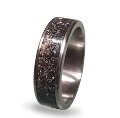 Titanium Wedding Band with Crushed Antler Inlay by ringordering