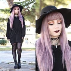 Get this look: http://lb.nu/look/8549889  More looks by Federica D: http://lb.nu/vanillasyndrome  Items in this look:  Romwe Black Fringe Sweater, Romwe Black Hat   #edgy #gothic #grunge #black #goth #altfashion #alternativefashion