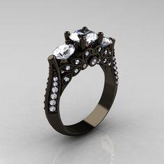 14K Black Gold Three Stone Diamond Cubic Zirconia Solitaire Ring R200-14KBGDCZ. $2,599.00, via Etsy.
